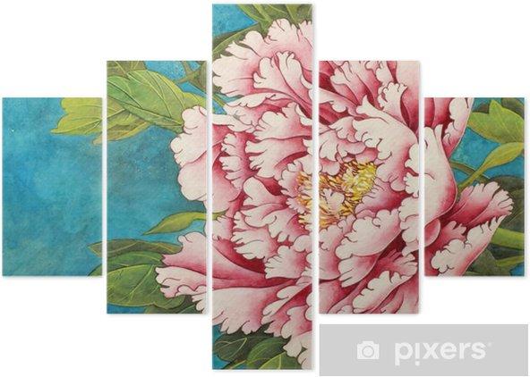 Pentittico Rosa peonia su sfondo blu - Piante & Fiori