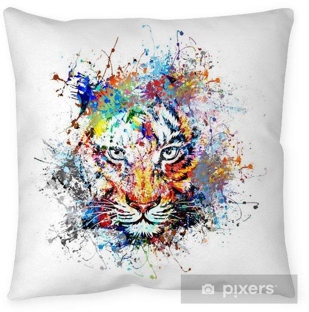 яркий фон с тигром Pillow Cover - Science & Nature