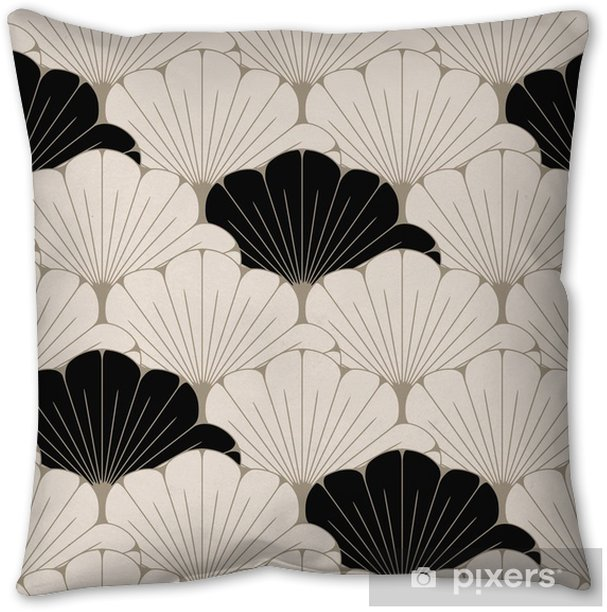a Japanese style seamless tile with exotic foliage pattern in soft brown and black Pillow Cover - Graphic Resources