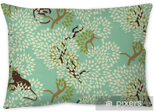 Abstract floral seamless pattern. Trees and monkeys. Exotic wood Pillow Cover - Graphic Resources