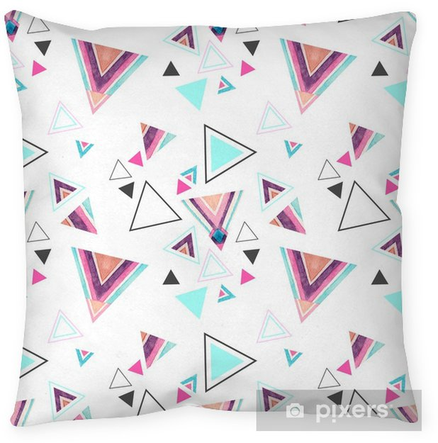 Abstract watercolor triangle seamless pattern. Pillow Cover - Graphic Resources