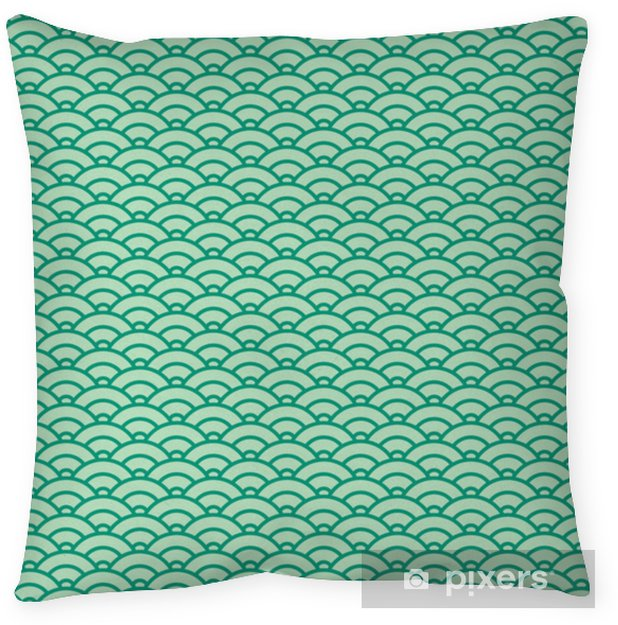 Basic Japanese wave seamless pattern. Green color scheme Pillow Cover - Graphic Resources