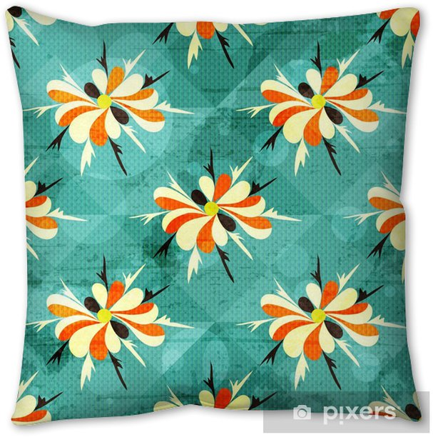 beautiful colored abstract flowers seamless pattern Pillow Cover - Graphic Resources