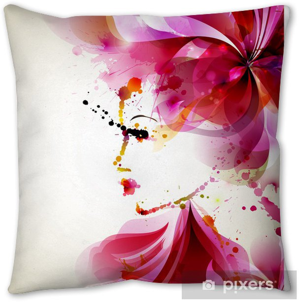 Beautiful Fashion Women With Abstract Hair And Design Elements Pillow Cover Pixers We Live To Change