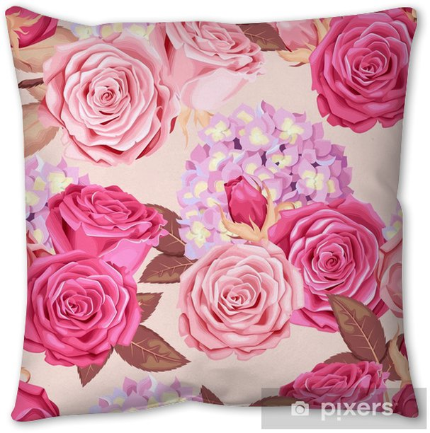 Beautiful roses and hydrangea seamless Pillow Cover - Plants and Flowers