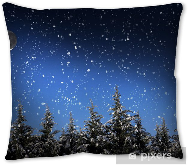 Beautiful Winter Landscape With Snow Covered Trees At Night Pillow Cover Pixers We Live To Change