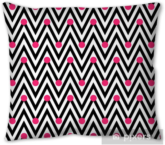 Black and White Horizontal Chevron Striped with Polka Dots Backg Pillow Cover - Backgrounds