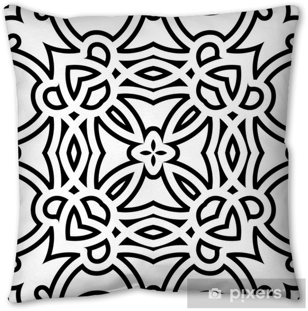 Black and white lattice, geometric seamless pattern Pillow Cover - Styles
