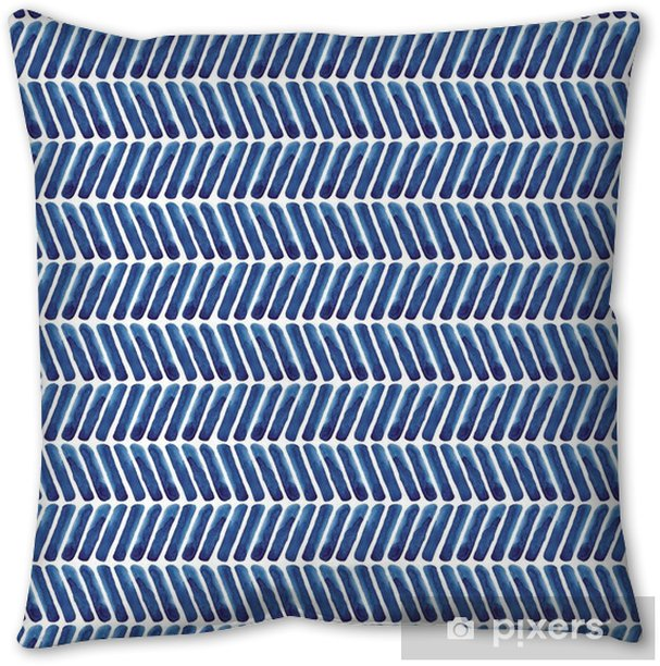 Blue chevron watercolor pattern. Navy background Pillow Cover - Graphic Resources