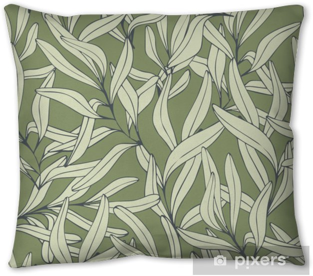 Branches. Hand drawing. Vector seamless pattern Pillow Cover - Plants and Flowers