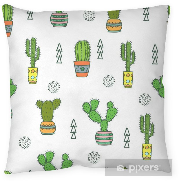 Cactus Seamless Pattern Doodle Colorful Flowers In Pots Vector