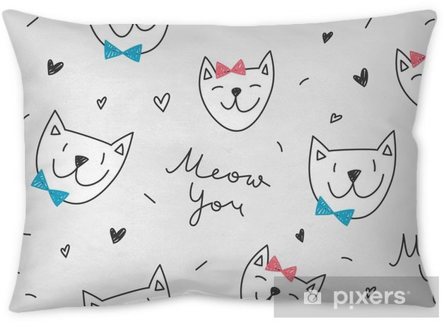 Cats In Love Vector Seamless Pattern With Cartoon Cat Faces And