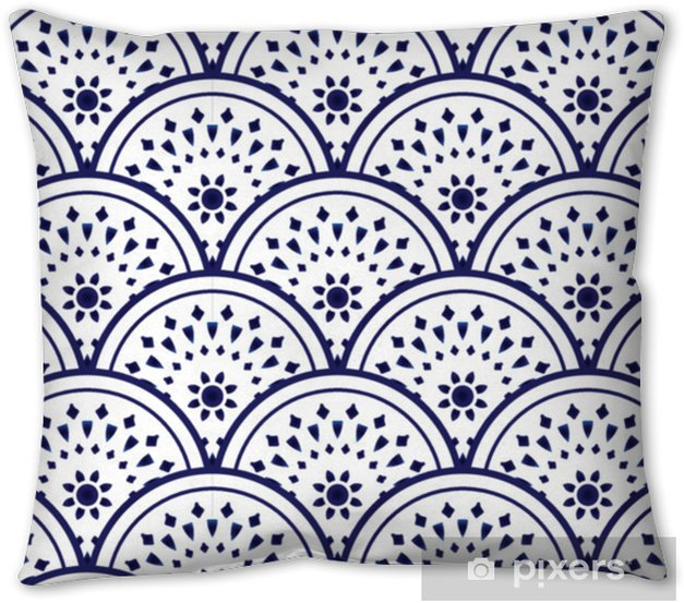 ceramic pattern blue and white Pillow Cover - Graphic Resources