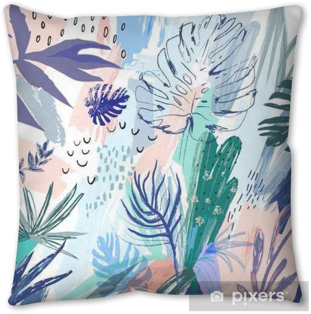 Creative universal floral background in tropical style. Vector Pillow Cover - Plants and Flowers