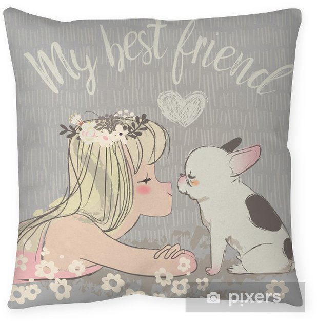 cute girl with bulldog Pillow Cover - Animals