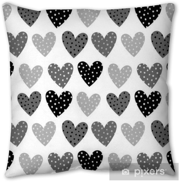 Cute Grey Hearts With Dots Seamless Pattern Pillow Cover - Graphic Resources