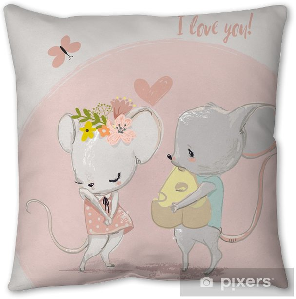 cute mouse couple Pillow Cover - Animals