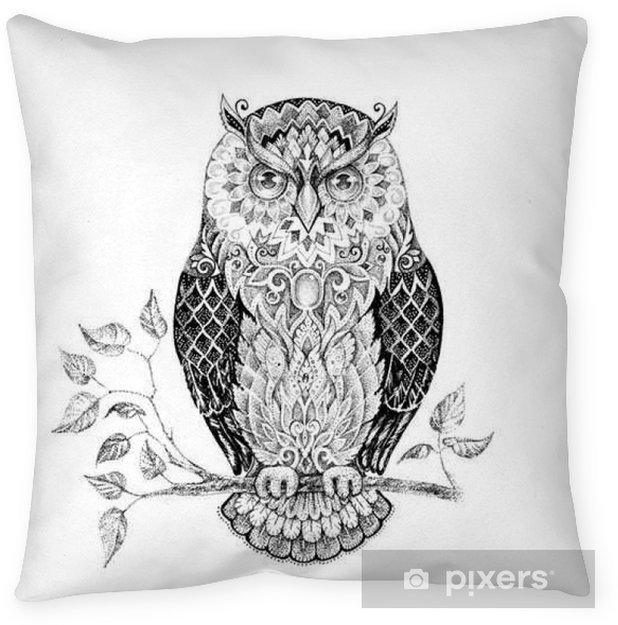 Drawing owl with beautiful patterns Pillow Cover - Animals