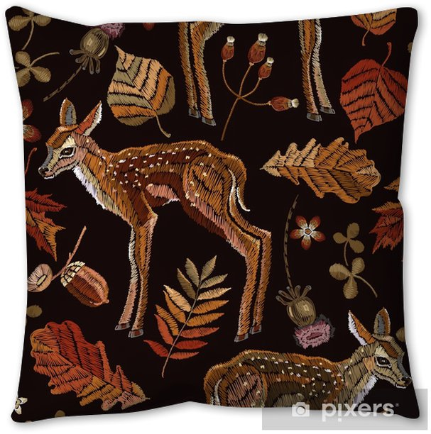 Embroidery Deer Autumn Seamless Pattern Classical September Embroidery Autumn Leaves Fawn Deer Oak And Maple Leaves Fashionable Template For Design Of Clothes T Shirt Design Pillow Cover Pixers We Live To