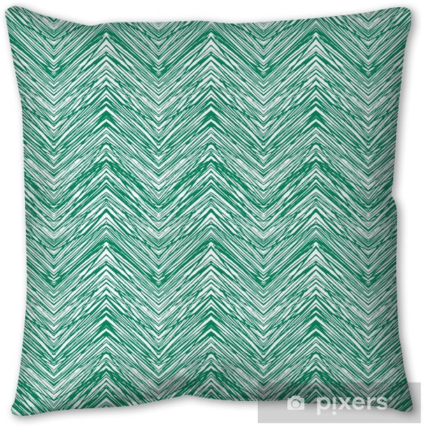 Emerald green hand drawn vector zigzag pattern Pillow Cover - Graphic Resources