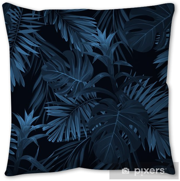 Exotic tropical vrctor background with hawaiian plants and flowers. Seamless indigo tropical pattern with monstera and sabal palm leaves, guzmania flowers. Pillow Cover - Plants and Flowers