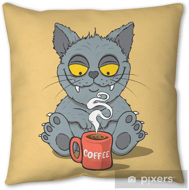 Funny cat with cup of coffee in the morning. Animal characters.Cartoon vector illustration Pillow Cover - Food