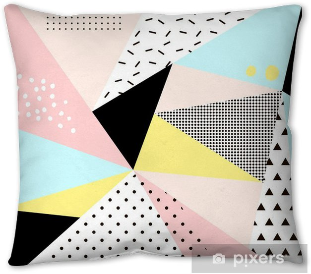 Geometric memphis background.Retro design for invitation, business card, poster or banner. Pillow Cover - Graphic Resources