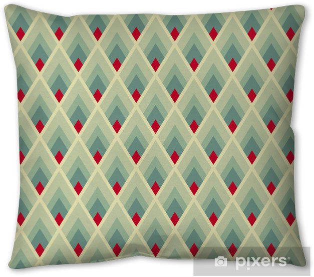 Geometric seamless pattern with green and red lozenges Pillow Cover - Backgrounds
