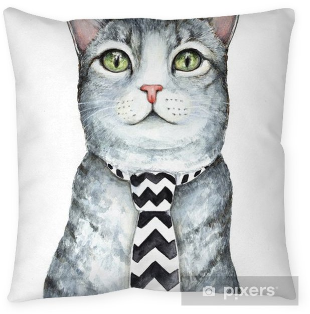Gray cat character wearing mens neck tie with black and white chevron zig zag pattern. Green eyes. Fabric accessory. Hand drawn watercolour graphic sketch illustration, isolated on white background. Pillow Cover - Animals