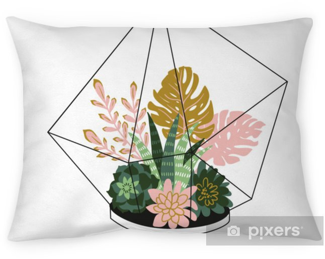 Hand drawn contained tropical house plants. Scandinavian style illustration, modern and elegant home decor. Vector print design with terrarium with tropical plants. Pillow Cover - Plants and Flowers