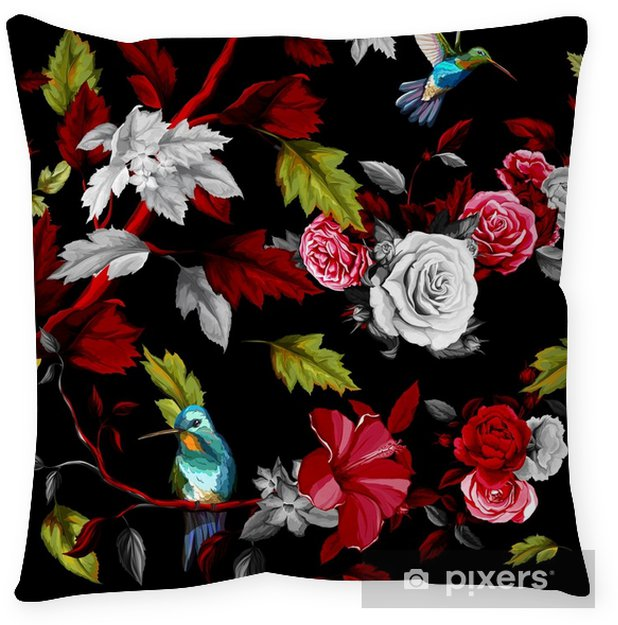 Black Leather Living Room Garden Rose And Peony: Humming Bird, Roses, Peony With Leaves On Black. Stylized