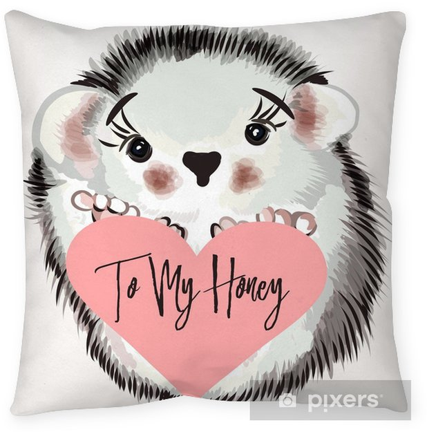 Illustration with vector hedgehog Pillow Cover - Animals