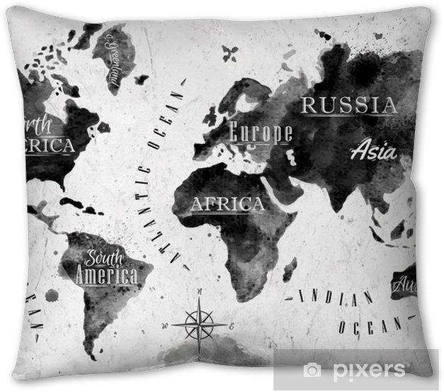 Ink world map Pillow Cover - Themes
