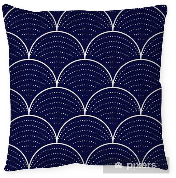 Japanese wave seamless pattern, vector illustration Pillow Cover - Graphic Resources
