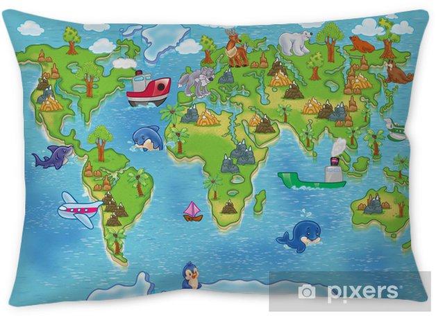 kids world map Pillow Cover