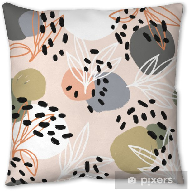Modern abstract pattern collection. Hero pattern with brush strokes, shapes and floral elements. Trendy pastel colors. Minimalist digital. Fabric print, wrapping paper, poster, flyer, banner design. Pillow Cover - Hobbies and Leisure