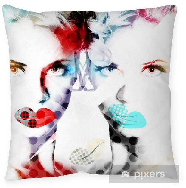 Modern design poster with a portrait of a beautiful girl.. Pillow Cover - Hobbies and Leisure