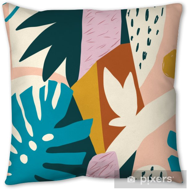 Modern exotic jungle fruits and plants illustration in vector. Pillow Cover - Plants and Flowers