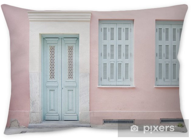 Pastel pink building and pale blue doorway surrounded by marble in Athens, Greece Pillow Cover - Buildings and Architecture