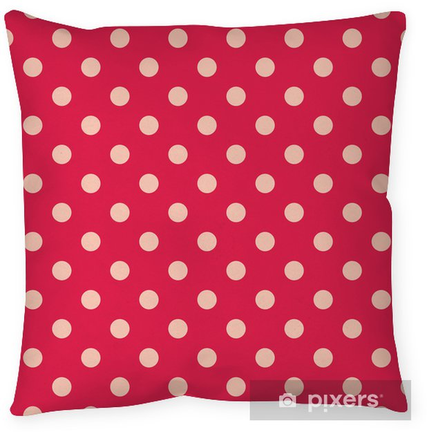 Pink dots, red background retro seamless vector pattern Pillow Cover - Themes