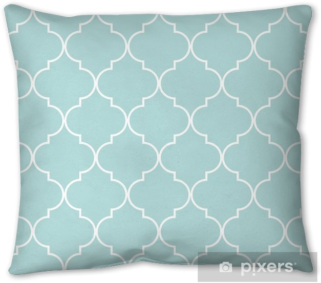 Quatrefoil geometric seamless pattern, background, vector illustration in mint blue, soft turquoise color and white. Pillow Cover - Graphic Resources