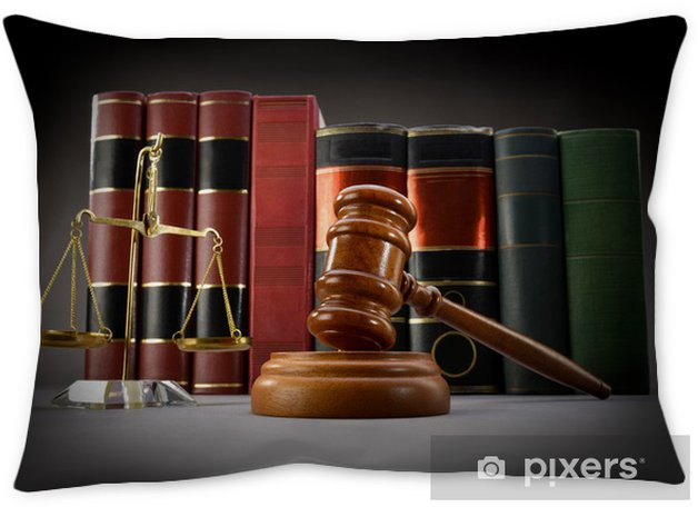 Scales of justice, law books and gavel over dark background Pillow Cover