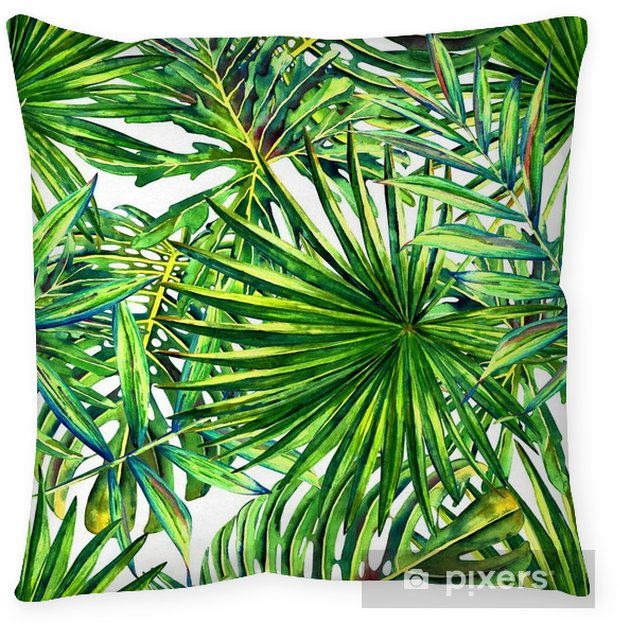 Seamless floral pattern with watercolor tropical palm leaves. Jungle foliage on white background. Textile design. Pillow Cover - Graphic Resources