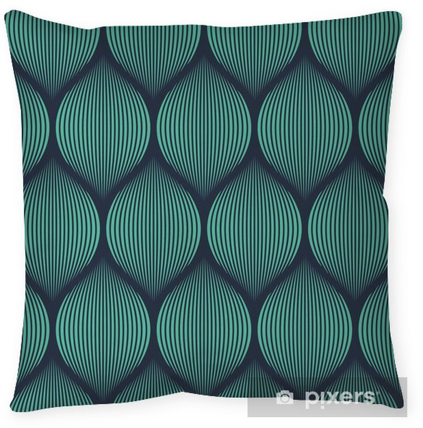 Seamless neon blue optical illusion woven pattern vector Pillow Cover -