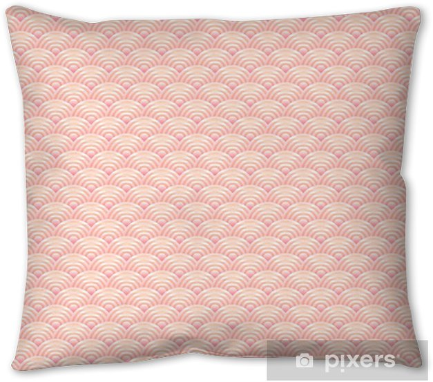 seamless pattern dragon fish scales simple seamless pattern Nature background with japanese wave circle pattern pastel colors on light orange pink background. Vector Pillow Cover - Graphic Resources