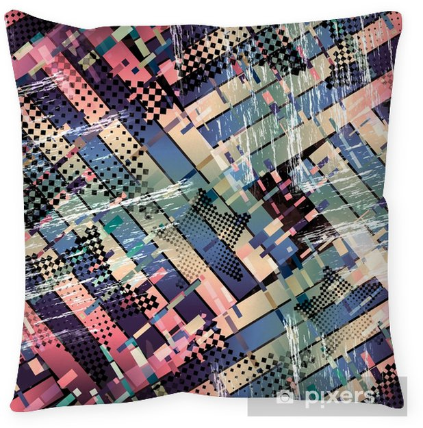 Seamless pattern glitch design. Cyberpunk background. Digital gradient print. Textile print for bed linen, jacket, package design, fabric and fashion concepts. Pillow Cover - Graphic Resources