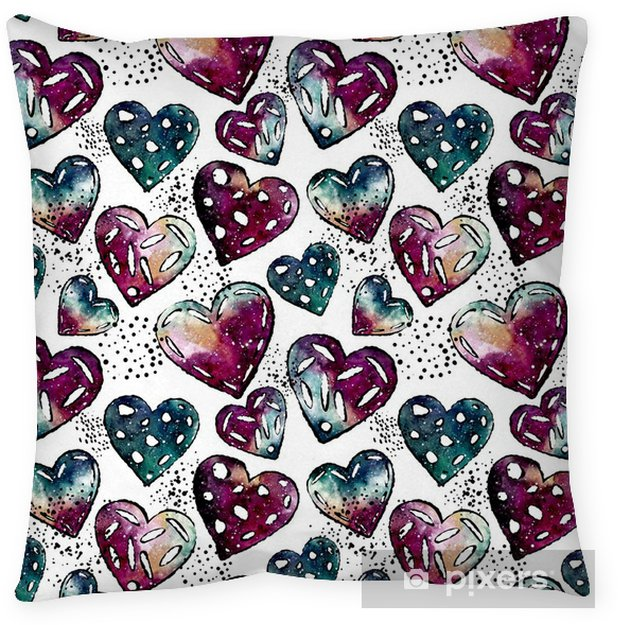 Seamless Pattern of Black Dots and Watercolor Hearts Pillow Cover - Graphic Resources