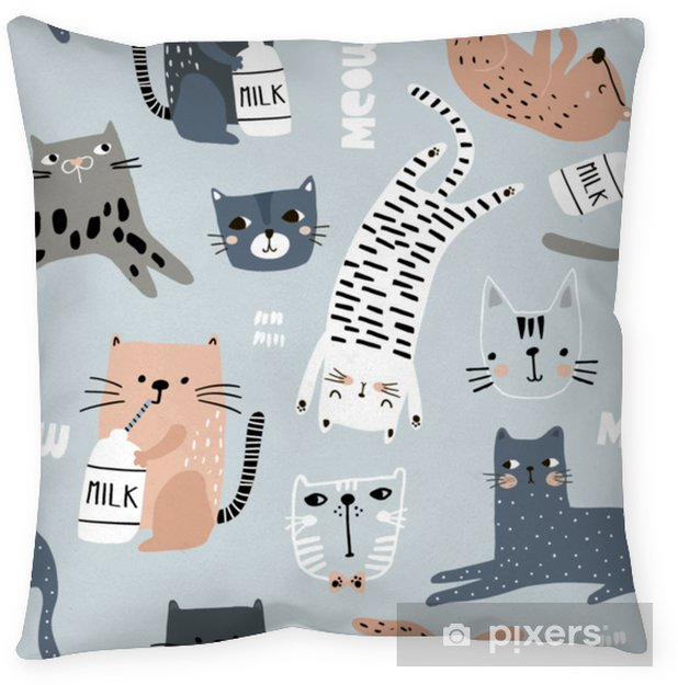 Seamless pattern with different funny cats. Creative childish texture. Great for fabric, textile Vector Illustration Pillow Cover - Graphic Resources