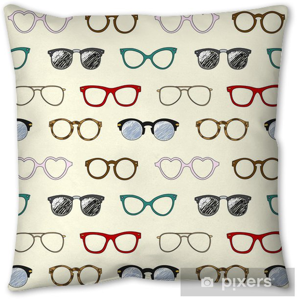 Seamless pattern with retro glasses and frames Pillow Cover - Styles