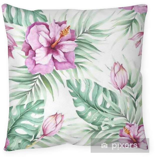Seamless pattern with tropical flowers. Watercolor illustration. Pillow Cover - Plants and Flowers